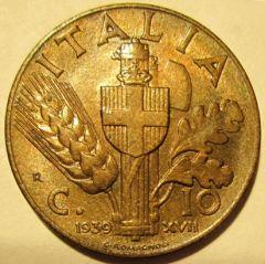 10 Centesimi 1939 Impero 2 Tipo   Reverse
