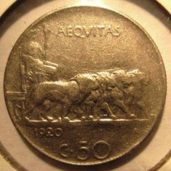 50 Centesimi 1920 Leoni   Bordo Rigato  Reverse