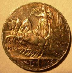 1 Lira 1910   Quadriga Veloce    Reverse