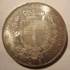 5 Lire 1878 R   Reverse