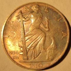 10 Lire 1936 Impero       Reverse