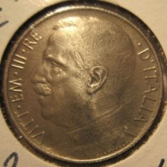 50 Centesimi 1925 Leoni Bordo  Rigato  Obverse