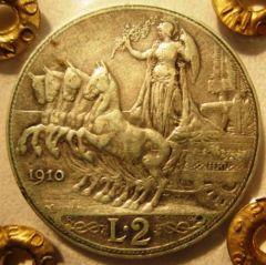 2 Lire 1910 R    Quadriga  Reverse