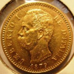 20 Lire 1879 R  Umberto I   Obverse