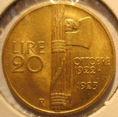 20 Lire 1923 R   Fascetto      Reverse