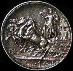 1 lira quadriga briosa 1916 B