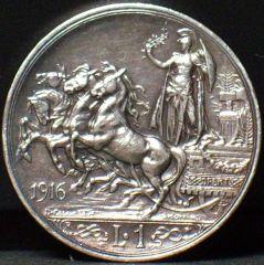 1 Lira Quadriga briosa del 1916 R/