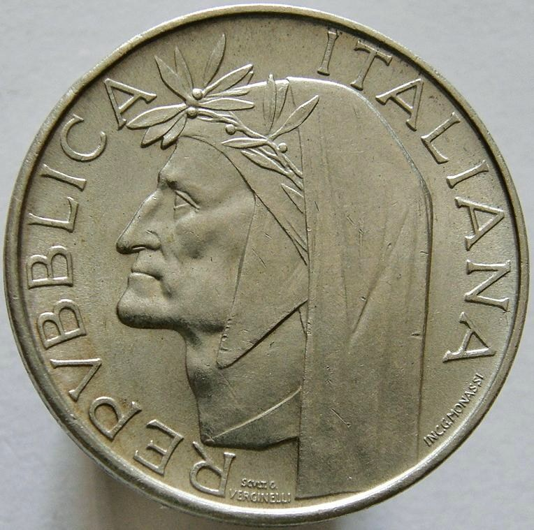 500 lire Dante Alighieri dritto