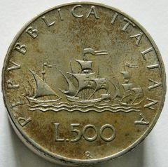 500 lire 1961 verso