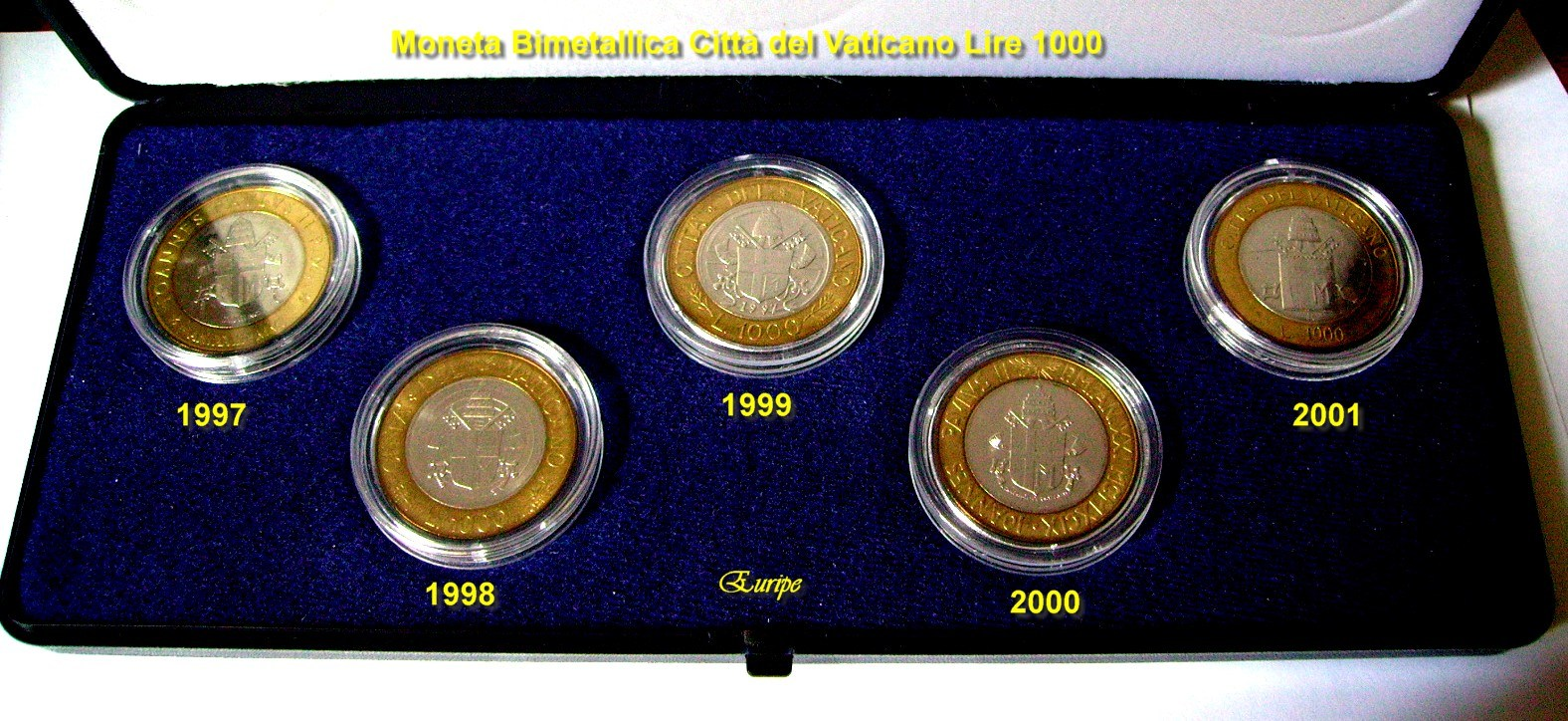 Collezione completa delle 5 monete bimetalliche da 1000 lire emesse dalla Città del Vaticano