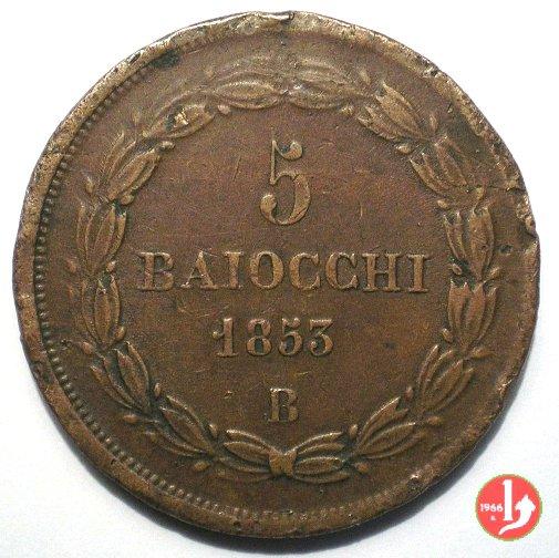 V: 5 BAIOCCHI 1853 ANN.VII B  PIO IX ( 1846 - 1878 )