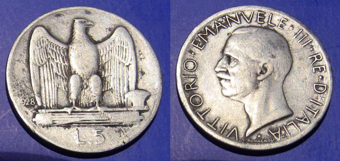 5 Lire 1928 Acquila 1 Stella MB