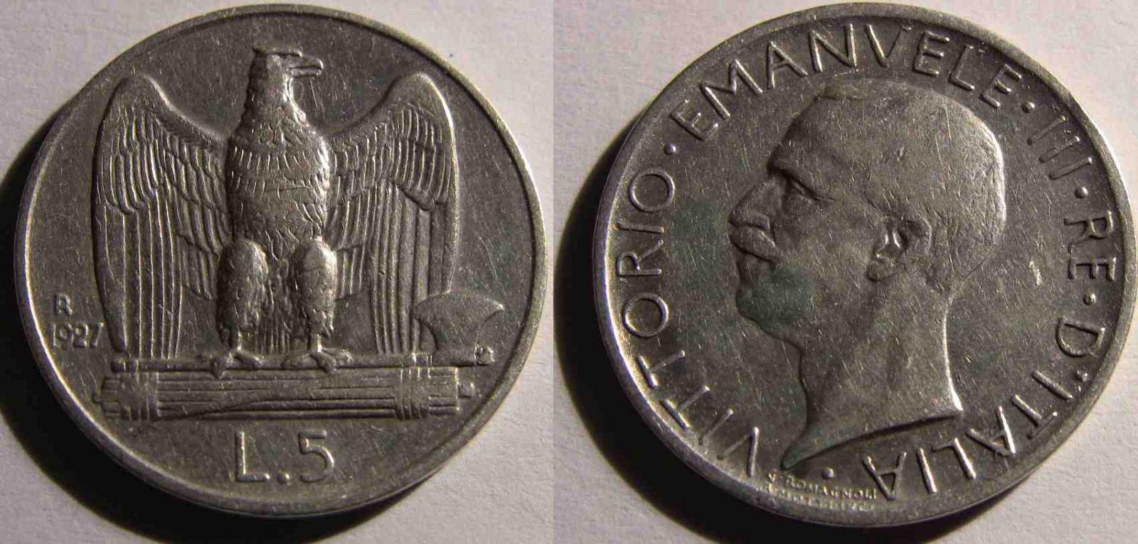 5 Lire aquila 1927 Una stella