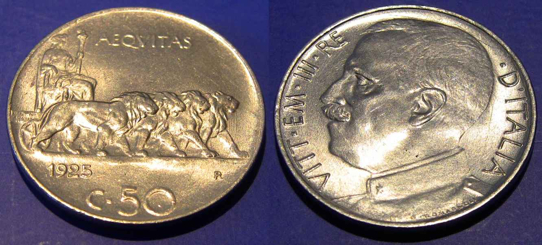 50 Centesimi 1925 Liscio