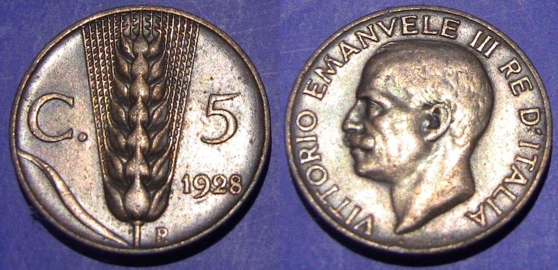 5 Centesimi Spiga 1928 BB