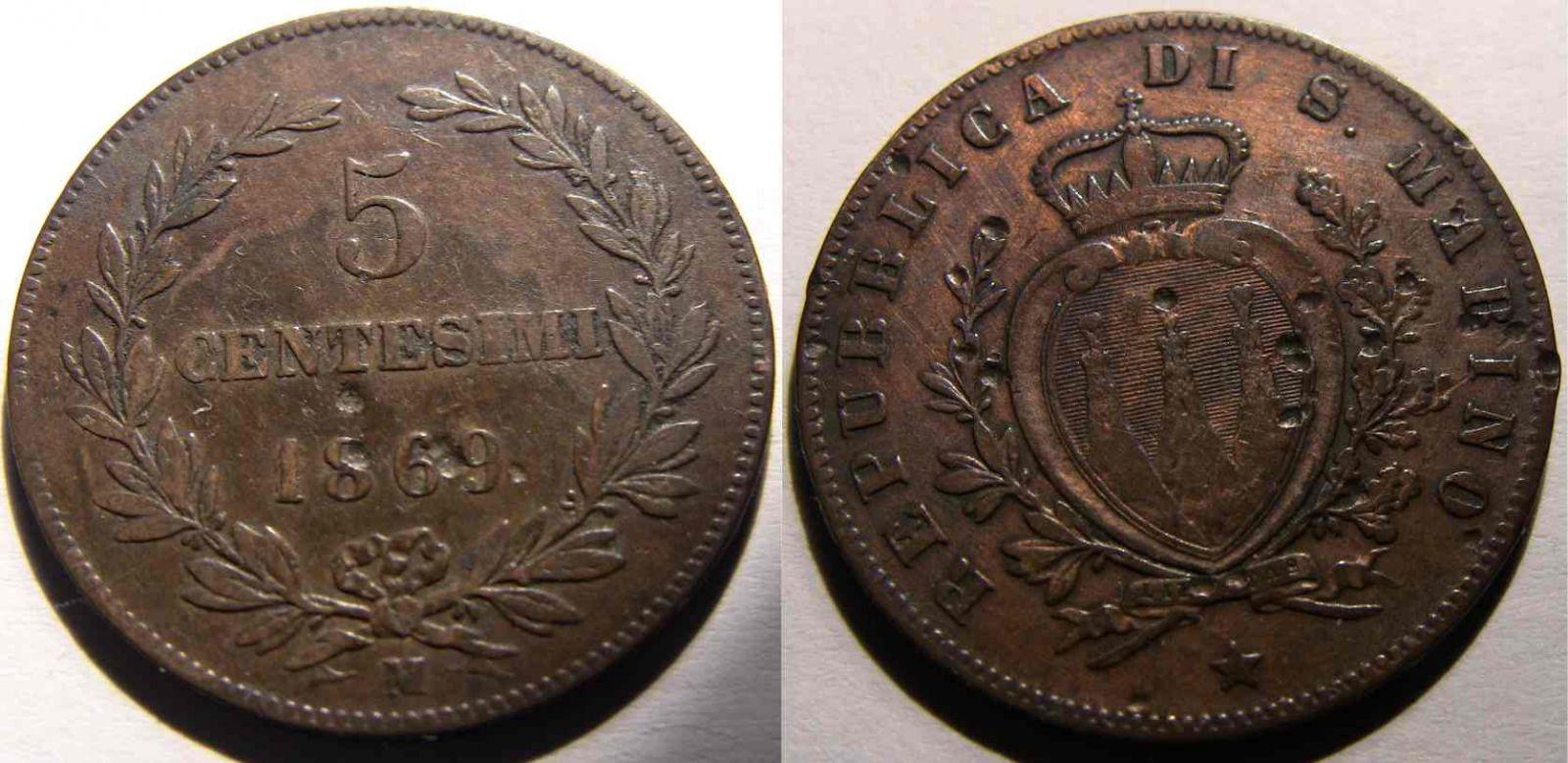 5 Centesimi 1869 San Marino