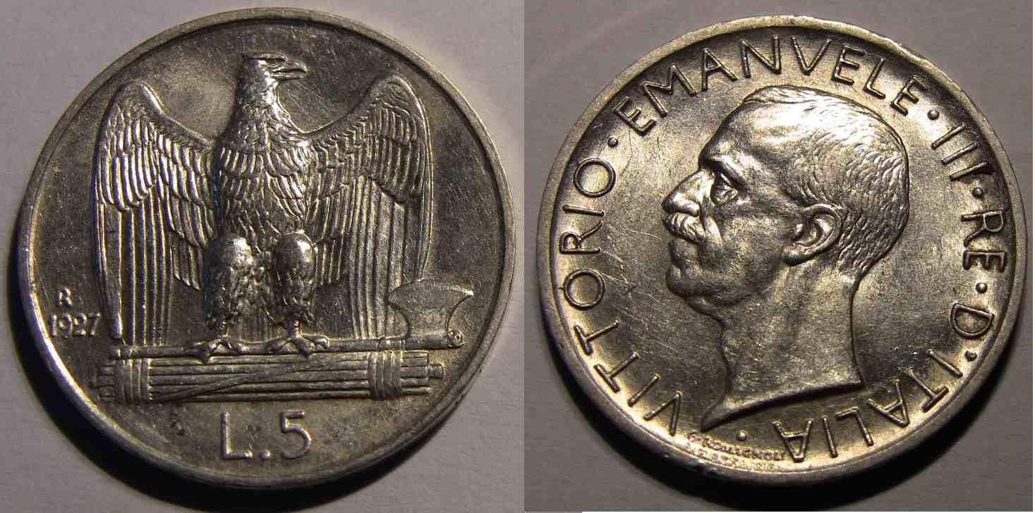 5 Lire Aquilotto 1927 Due Stelle SPL
