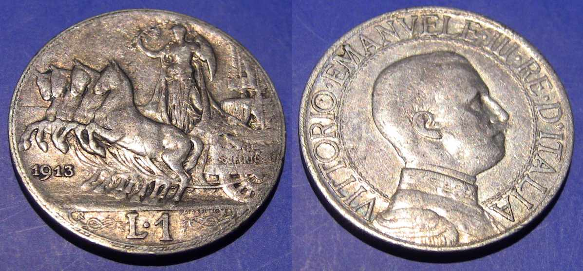 1 Lira  1913 Quadriga Veloce 1913