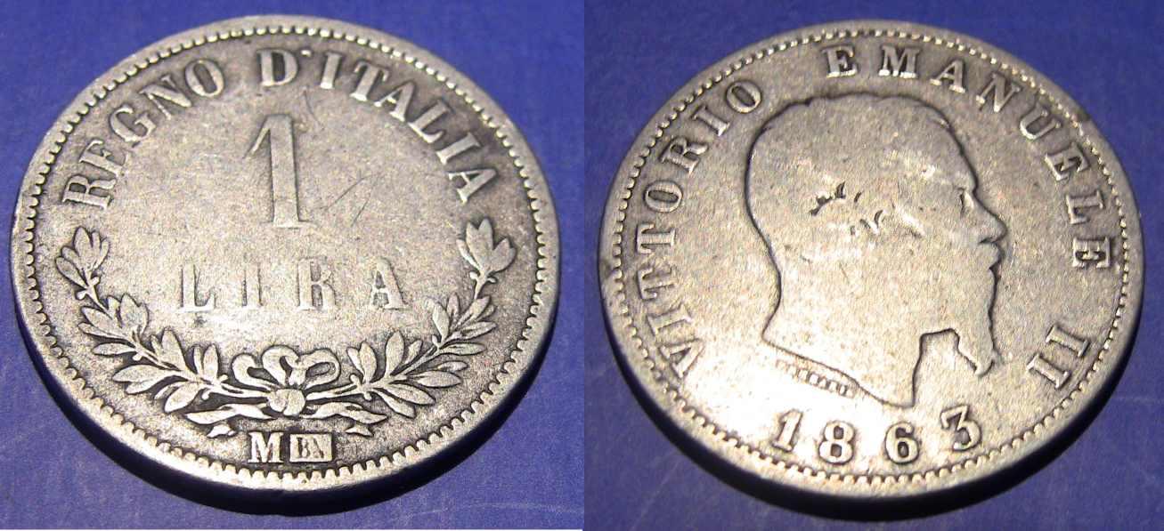 1 Lira VE II Valore 1863 M
