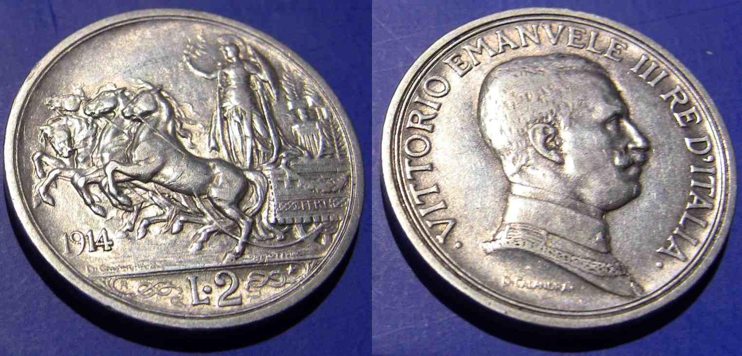 2 Lire 1914 Quadriga Briosa BB QSPL