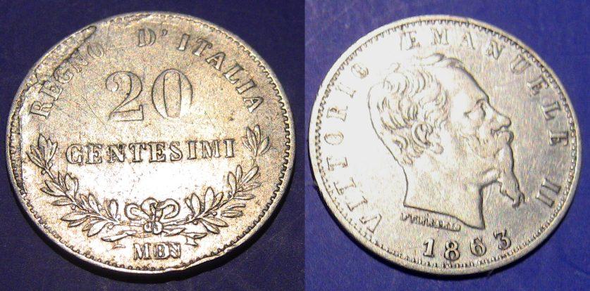 20 Centesimi Valore 1863 M Con difetto Di conio A Ore 11 BB