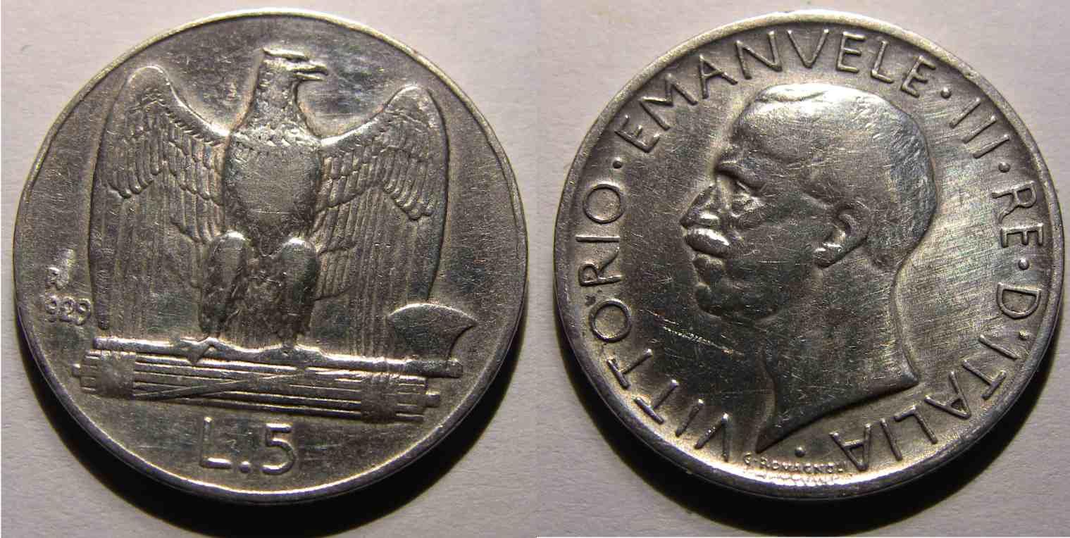 5 Lire aquila 1929 Due stelle