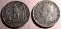 5 Lire Aquilotto 1927 Due stelle Bb