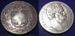 5 Lire Umberto I 1879 Scudo QBB