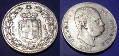 1 Lira Umberto I 1887  QBB