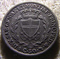 50 Centesimi 1826 Torino Dritto