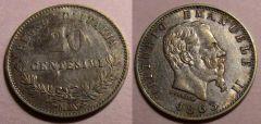 20 Centesimi 1863 BB SPL