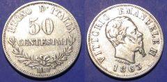 50 VE II Centesimi  Valore 1863 M