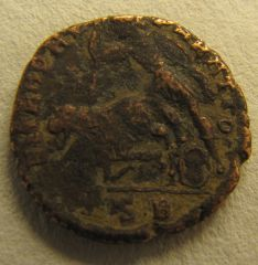 Costanzo II - AE2 soldato che trafigge cavaliere caduto - rovescio