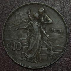 10 cent Cinquantenario - 1911 - Rovescio
