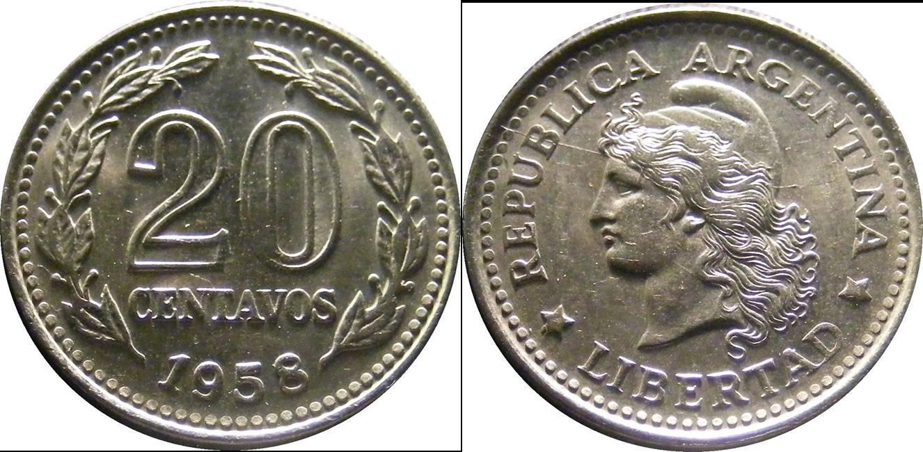 Argentina c km55 20 Centavos