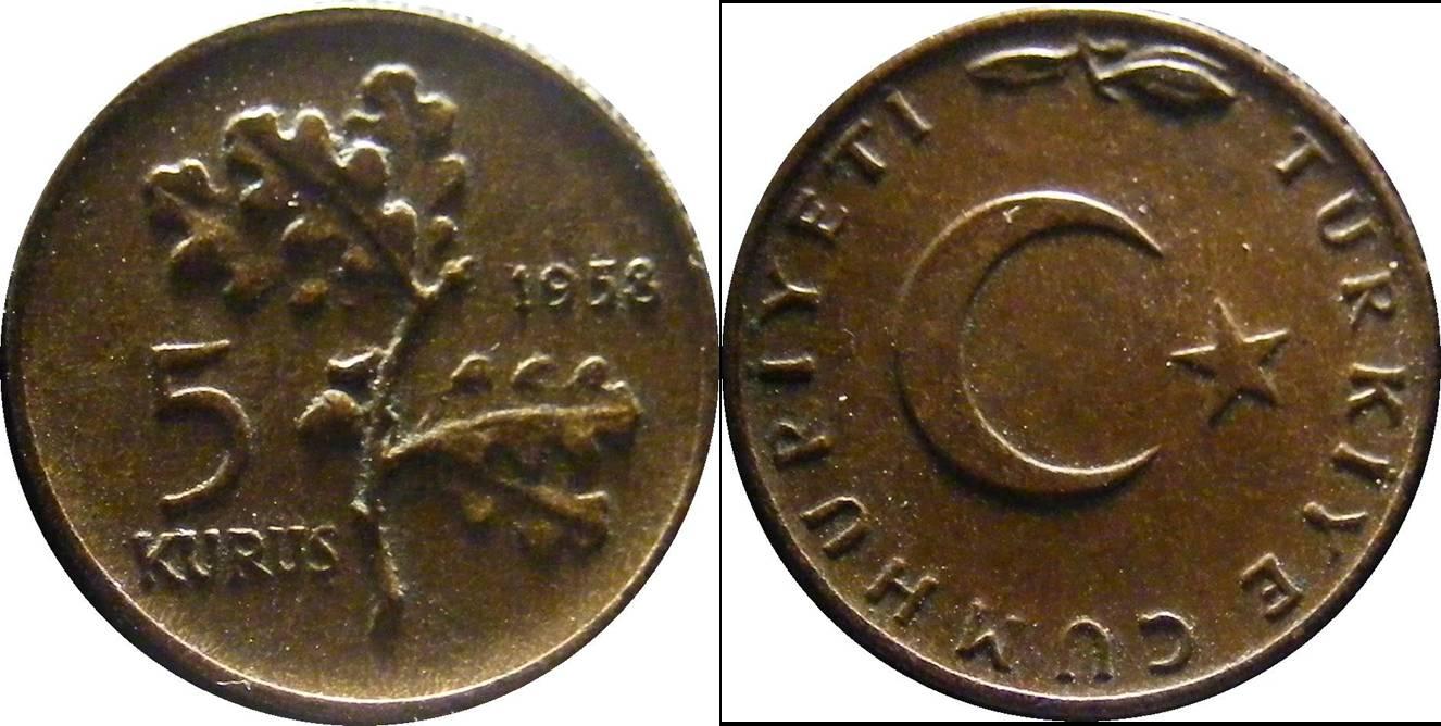 Turkey a km890.1 5 Kurus (1958-1968)
