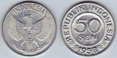Indonesia km13 50 Sen 1958