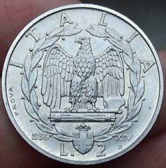 2 lire 1936 XIV prova Rov