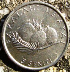 5 Seniti 1990 Tonga