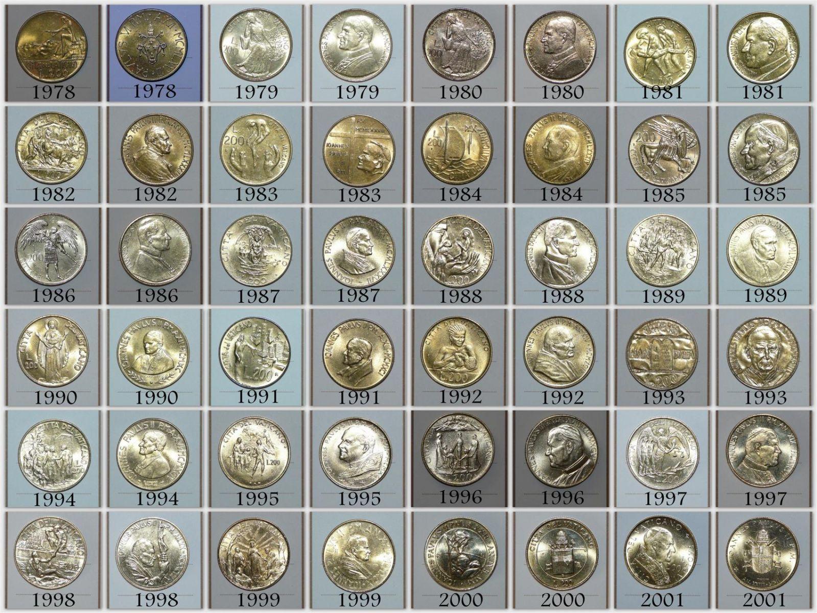 200 - 500 - 1000 Lire Città del Vaticno