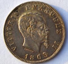 1 lira 1863 M D/