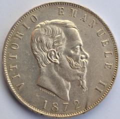 5 L Scudo Vitt Em II 1872 M D/