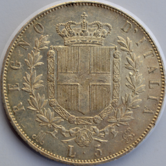 5 L Scudo Vitt Em II 1872 R/