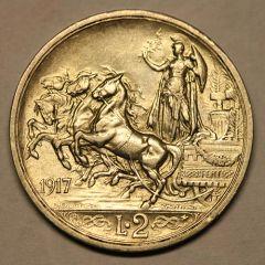 2 Lire 1917 Quadriga Briosa