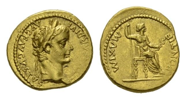 NN5 Lot 115 - Tiberius, 14-37 Aureus Lugdunum circa 14-37