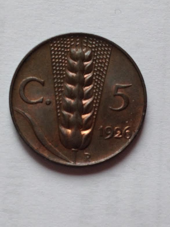 5 Centesimi spiga 1926