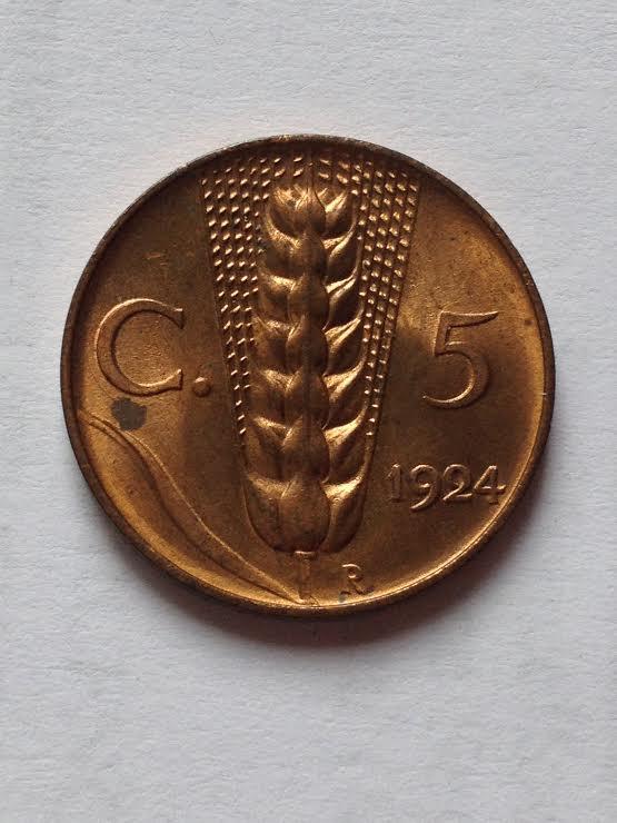 5 Centesimi spiga 1924