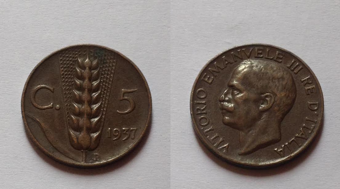 5 Centesimi spiga 1937