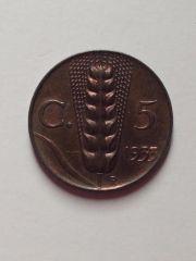 5 Centesimi spiga 1933