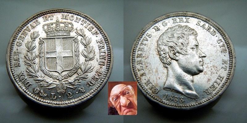 Carlo Alberto 2 lire 1833 G
